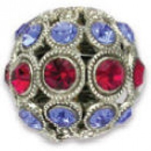 13mm Ruby/Sapphire Combo on Antique Silver Swarovski® Rhinestone Encrusted Balls