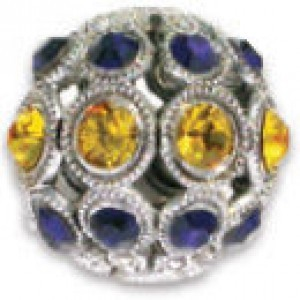 13mm Sunflower/Dark Indigo Combo on Antique Silver Swarovski® Rhinestone Encrusted Balls