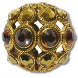8mm Smoke Topaz/Dorado Combo on Antique Gold Swarovski® Rhinestone Encrusted Balls