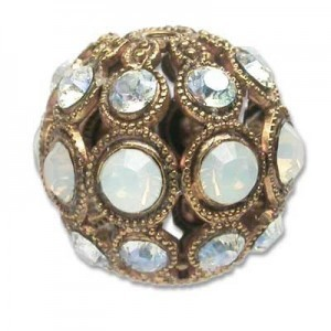 13mm White Opal/Cry Moonlight Combo on Antique Gold Swarovski® Rhinestone Encrusted Balls