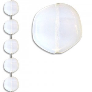 19mm Milky White Coated Odd Coin Czech Glass - 7 Inch Strand (Apx 7 Beads)