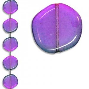 19mm Rainbow Coated Odd Coin Czech Glass - 7 Inch Strand (Apx 7 Beads)