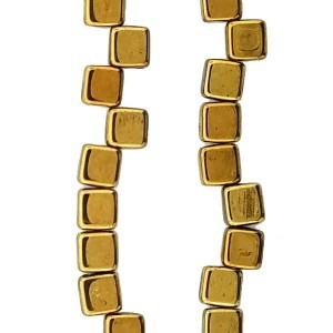 6mm Gold Color 2-Hole Czech Glass Tile - 7 Inch Strand (Apx 30 Beads)