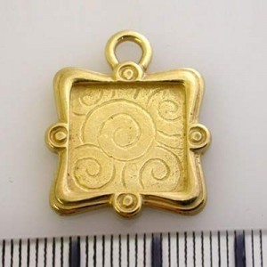 20x21mm Fancy Rectangle Pendant Frame Pewter W/ Gold Plate Finish 2pcs