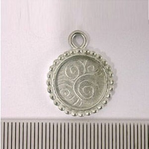 18mm Round Pendant Frame Pewter W/ Ant Silver Finish 2pcs