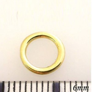 8mm Closed Jump Ring (1mm) Pewter W/ Gold Plate Finish 20pcs