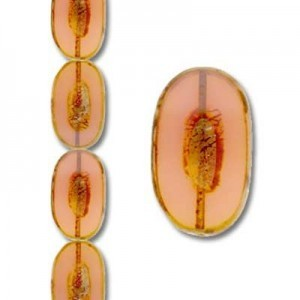 26x15mm Fancy Oval Picasso Rose - 7 Inch Strand (Apx 7 Beads)