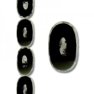 26x15mm Fancy Oval Picasso Jet - 7 Inch Strand (Apx 7 Beads)
