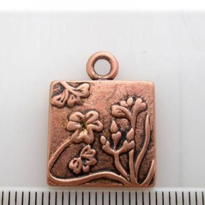 16mm Square Pendant Frame W/ Flowers Pewter W/ Ant Copper Finish 6pcs