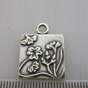 16mm Square Pendant Frame W/ Flowers Pewter W/ Ant Silver Finish 6pcs