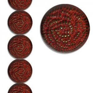 24x14mm Pittred Rondelle Cinnabar Patina 7 Inch Strand (Apx 7 Beads)
