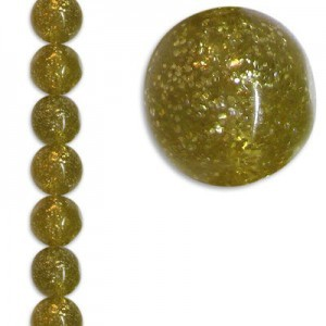 16mm Baroque Crystal/Gold Fleck 7 Inch Strand (Apx 12 Beads)