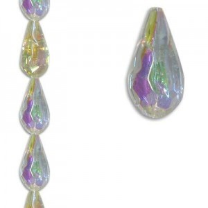 12x24mm Faceted Teardrop Crystal AB 7 Inch Strand (Apx 7 Beads)
