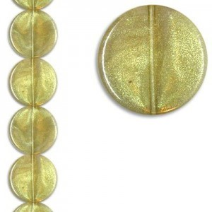 26x7mm Disc Crystal/Gold 7 Inch Strand (Apx 7 Beads)
