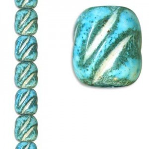18x16mm Channeled Oval Turquoise Marble 7 Inch Strand (Apx 10 Beads)