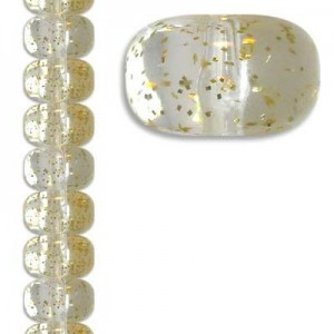 11x18mm Smooth Rondelle Crystal/Gold Flecked 7 Inch Strand (Apx 16 Beads)