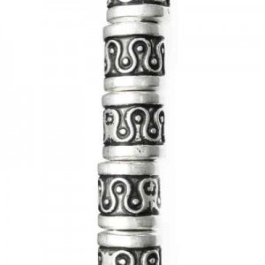 9x9mm Large Hole Fancy Designed Barrel Bead Antique Silver 7 Inch Strand (Apx 19 Beads)