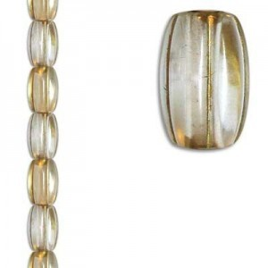 8x13mm Ribbed Oval Crystal/Gold 7 Inch Strand (Apx 14 Beads)
