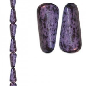18x8mm Teardrop Lilac/Black 7 Inch Strand (Apx 10 Beads)