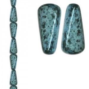 18x8mm Teardrop Turquoise/Black 7 Inch Strand (Apx 10 Beads)