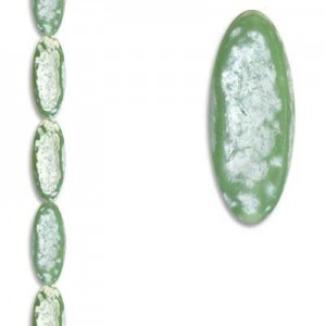 31x13mm Flat Oval Green/White 7 Inch Strand (Apx 6 Beads)