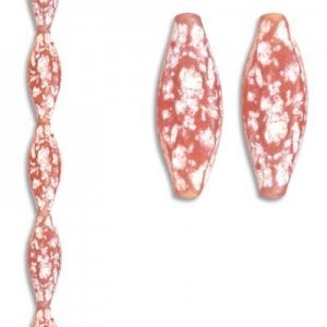 31x11mm Fancy Flat Bead Red/White 7 Inch Strand (Apx 6 Beads)