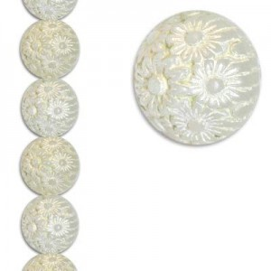 19mm Round Tulip Bead Crystal/White 7 Inch Strand (Apx 9 Beads)
