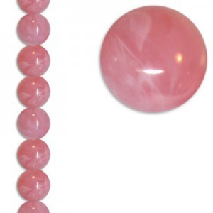 14mm Smooth Round Pink Marble 7 Inch Strand (Apx 13 Beads)