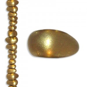3mm-7mm Czech Glass Chips Matte Gold - 7 Inch Strand (Apx 57 Beads)