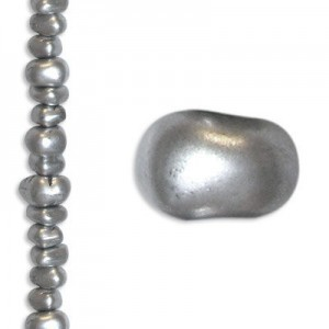 3mm-7mm Czech Glass Chips Matte Silver - 7 Inch Strand (Apx 57 Beads)