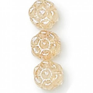 8mm Crystal Champagne Czech Glass Flower - 7 Inch Strand (Apx 22 Beads)