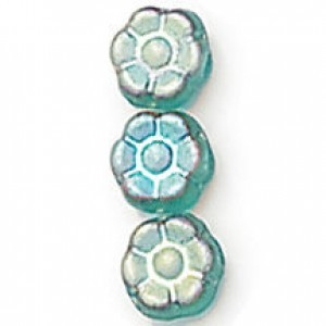8mm Frosted Aqua AB Czech Glass Flower - 7 Inch Strand (Apx 22 Beads)