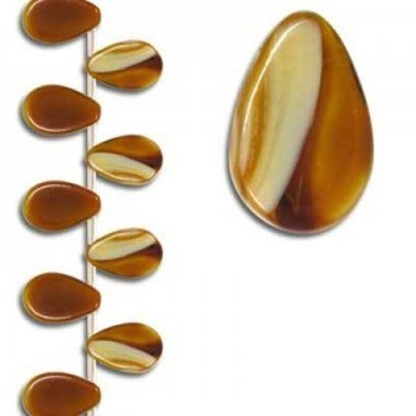 12x18mm Light Tiger Eye Smooth Flat Pear Pendant Czech Glass - 7 Inch Strand (Apx 13 Beads)