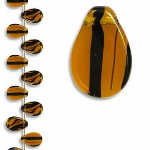 12x18mm Tortoise Shell Smooth Flat Pear Pendant Czech Glass - 7 Inch Strand (Apx 13 Beads)