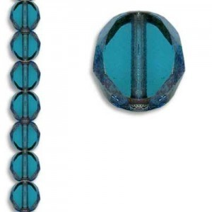 10mm Blue Zircon Antiqued Bronze Fire Polished Beveled Coin Czech Glass - 7 Inch Strand (Apx 18 Beads)