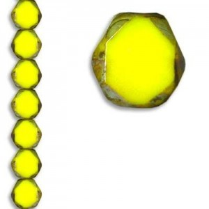 10mm Pineapple Picasso Fire Polished Beveled Coin Czech Glass - 7 Inch Strand (Apx 18 Beads)