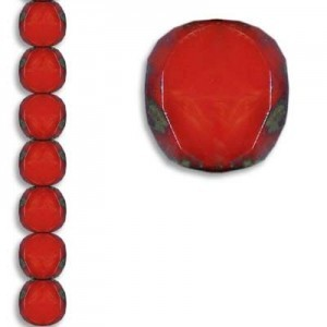 10mm Blood Red Picasso Fire Polished Beveled Coin Czech Glass - 7 Inch Strand (Apx 18 Beads)