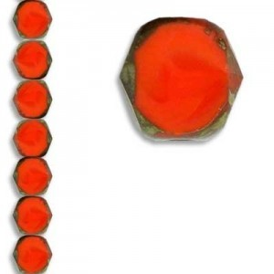 10mm Coral Picasso Fire Polished Beveled Coin Czech Glass - 7 Inch Strand (Apx 18 Beads)