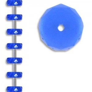 10x4mm Sapphire Fire Polished Rondelles Czech Glass - 7 Inch Strand (Apx 17 Beads)
