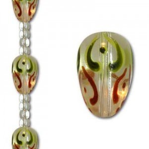 18x13mm Olive/Brown Hand-Painted Glass Tear Drop - 7 Inch Strand (Apx 6 Beads)