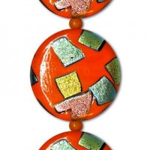 28mm Orange Flat Coin AB Patch Beads - 7 Inch Strand (Apx 6 Beads)