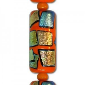 28mm Orange Barrel AB Patch Beads - 7 Inch Strand (Apx 6 Beads)