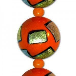 20mm Orange Round AB Patch Beads - 7 Inch Strand (Apx 8 Beads)