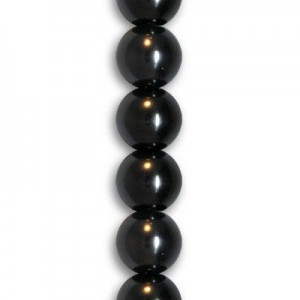 8mm Black Smooth Round Glass Pearls 7 Inch Strand (Apx 25 Beads)