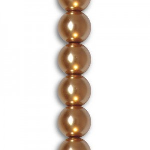 8mm Burnt Orange Smooth Round Glass Pearls 7 Inch Strand (Apx 25 Beads)