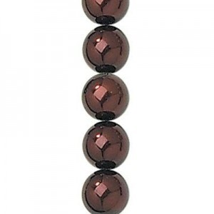 6mm Bronze Smooth Round Glass Pearls 7 Inch Strand (Apx 32 Beads)