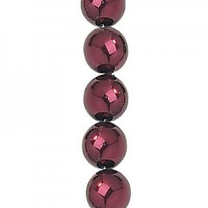 8mm Burgundy Smooth Round Glass Pearls 7 Inch Strand (Apx 25 Beads)