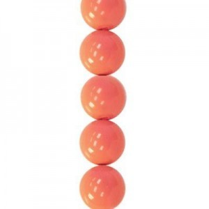 8mm Coral Smooth Round Glass Pearls 7 Inch Strand (Apx 25 Beads)