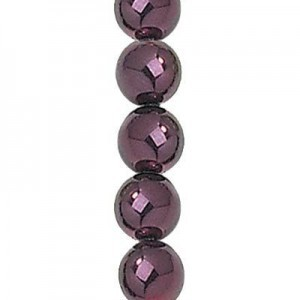8mm Eggplant Smooth Round Glass Pearls 7 Inch Strand (Apx 25 Beads)