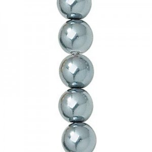 8mm Hematite Smooth Round Glass Pearls 7 Inch Strand (Apx 25 Beads)